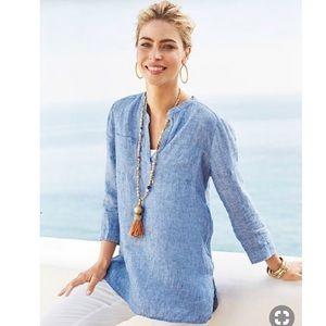 Chico's Beach Blue Linen Tunic